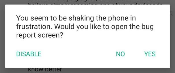 Meldung von Riot beim Schütteln des Smartphones
