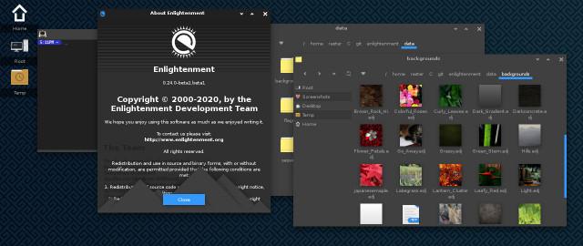Die Desktopoberfläche von Enlightement