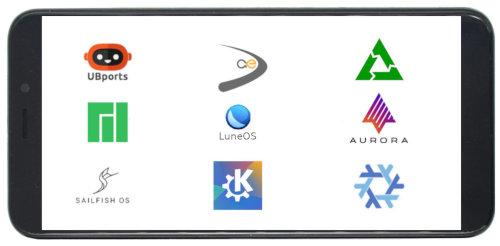 PinePhone mit verschiedenen Logos von diversen Projekten auf dem Bildschirm