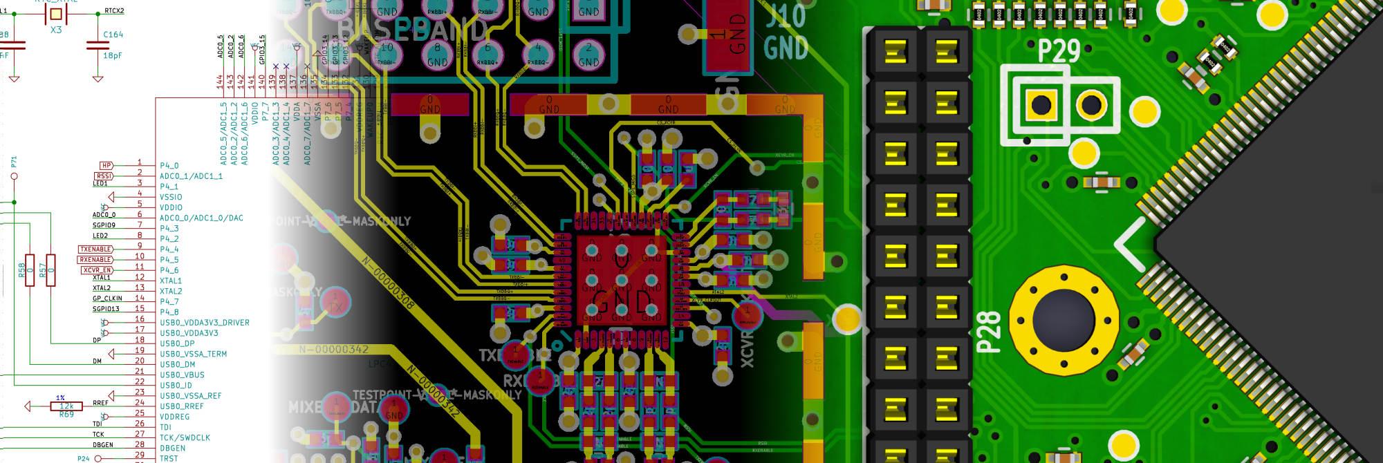 KiCad-GUI mit Leiterplatte
