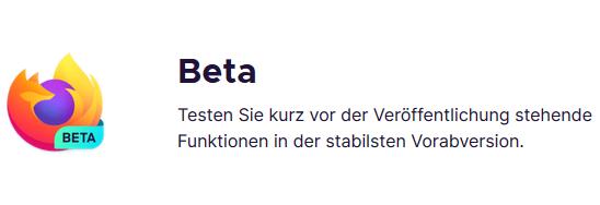 Beta Qualitätssiegel mit Firefox Logo